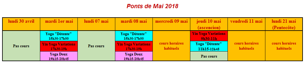 horaires ponts mai 2018